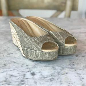Linen Espadrille Style Peep Toe Sandal
